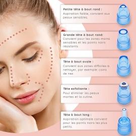 Aspirateur à points noires 5 embouts - My skin explication utilisation embouts
