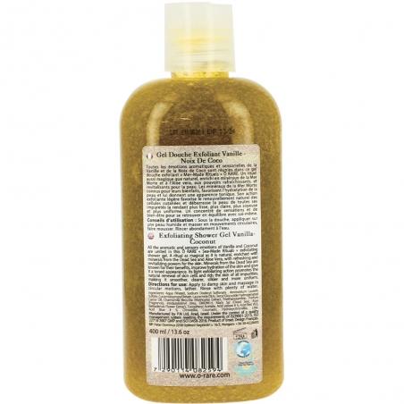 Bouteille de gel douche exfoliant vanille coco dos