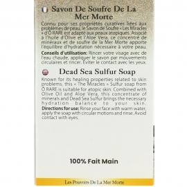 Dos d'emballage de savon de soufre de la mer morte
