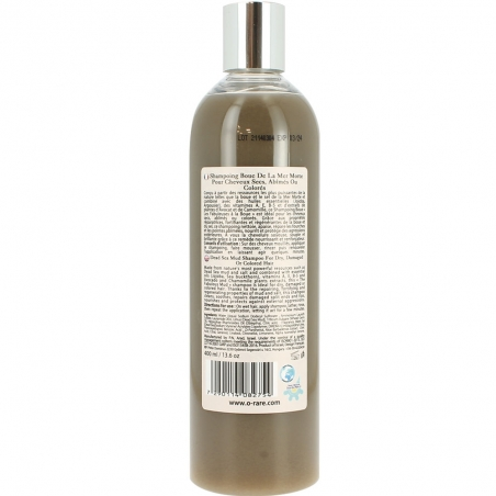 Bouteille de shampoing à la boue pour cheveux secs et abîmés de la marque Ô Rare vue dos