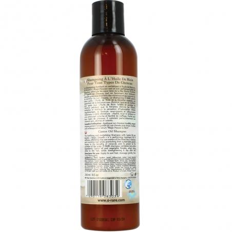 """Dos de bouteille de shampoing à l'huile de ricin """"Crinière de sirène"""" de marque Ô Rare"""