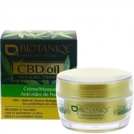 Crème masque anti-rides nuit CBD oil Biotaniqe packaging français carton et crème