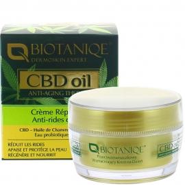 Crème de jour réparatrice anti-rides CBD oil Biotanique packaging carton français et crème