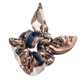 Chouchou noeud - Bleu & rose