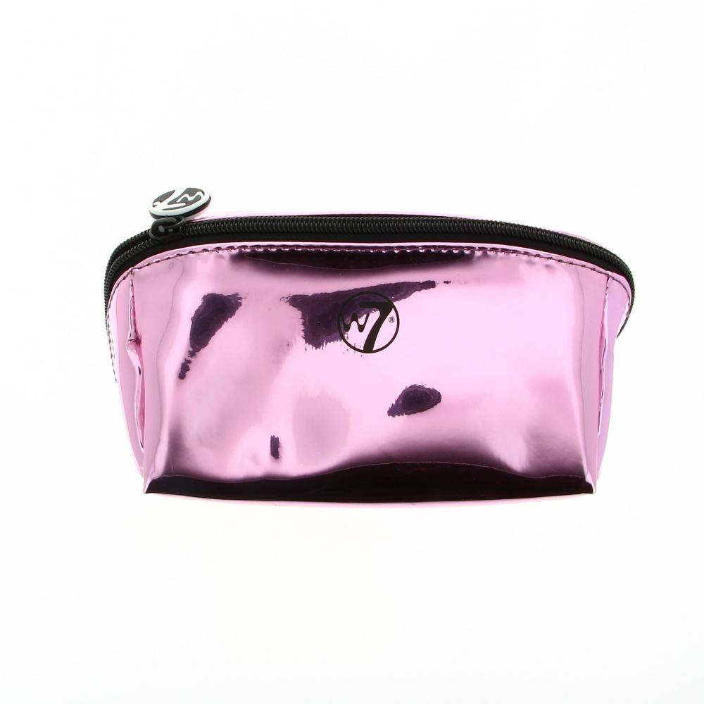 Trousse à maquillage métallique violette avec un zip.