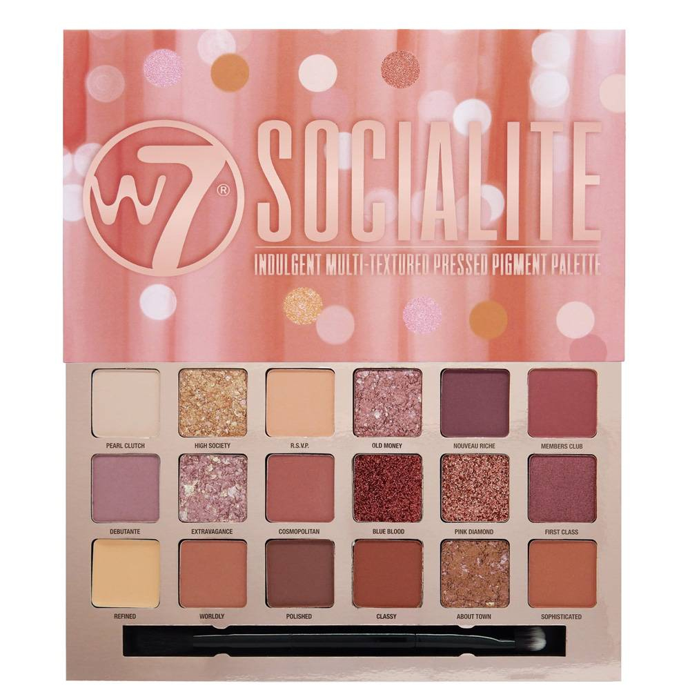 Palette Socialite de W7 composé de 18 fards à paupières à la nuance rosé et aux finis mats, irisés, pailletés et métalliques.