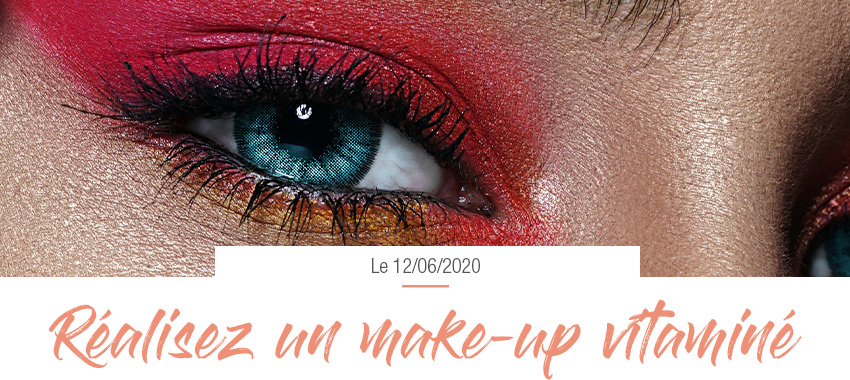 Maquillage des yeux fards rouge et orange