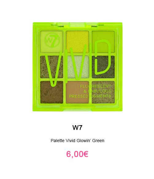 palette huda beauty pas cher W7 vivid color glowin green